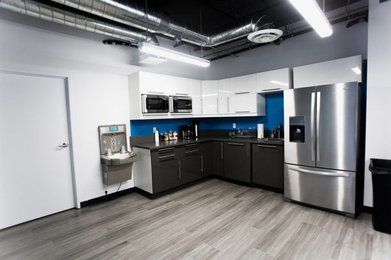 Coworking kitchen space.